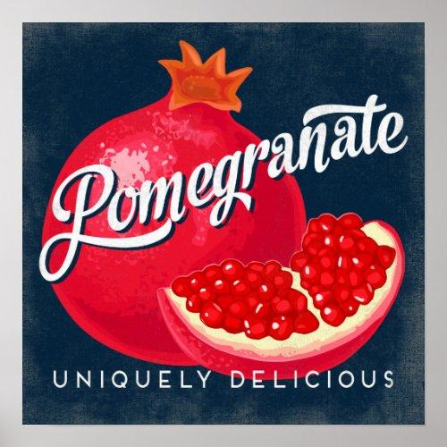 Pomegranate Vintage Fruit Label Poster