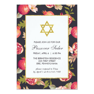 Pomegranates and Flowers with Gold Passover Seder Card
