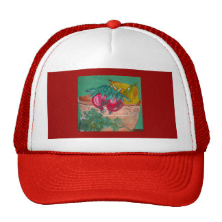 Pomegranates Pears And Parsley Design Hats