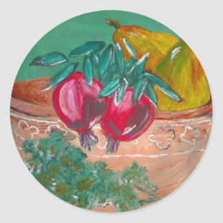Pomegranates Pears And Parsley Design Round Sticker