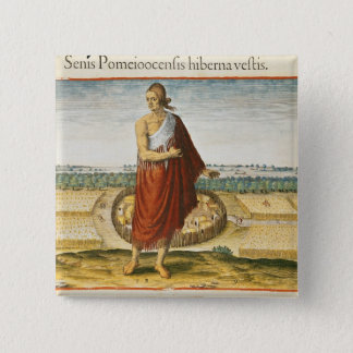 Pomeiooc Elder in a winter garment Pinback Button
