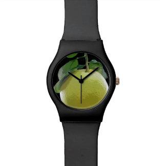 Pomelo en un reloj del árbol