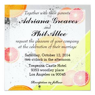 """Pomelo y naranja del collage del arte moderno invitación 5.25"""" x 5.25"""""""