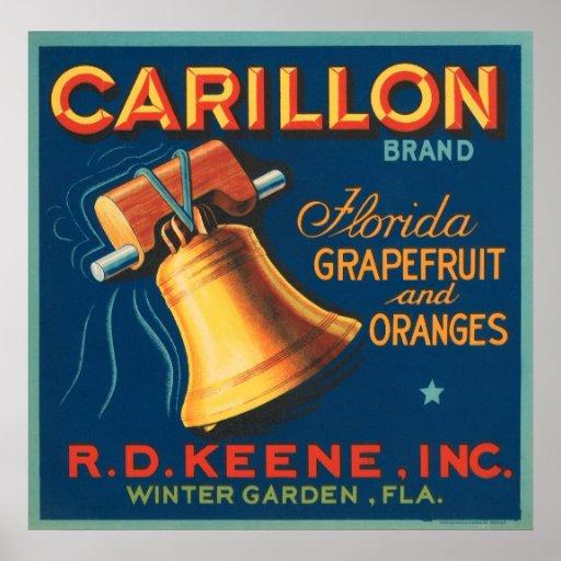 Pomelo y naranjas de la Florida del carillón Impresiones