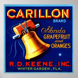 Pomelo y naranjas de la Florida del carillón Póster