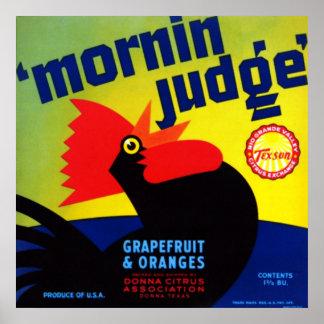 Pomelo y naranjas del juez de Mornin Póster