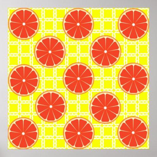 Pomelos brillantes del verano en cuadrados amarill impresiones