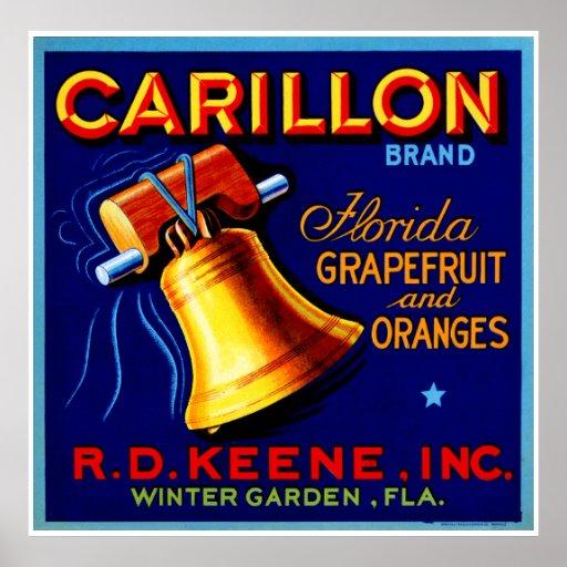 Pomelos de la Florida del carillón Poster