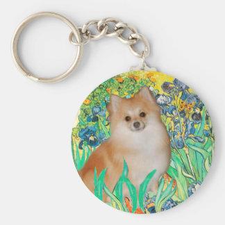 Pomeranian 3 - Irises Basic Round Button Keychain