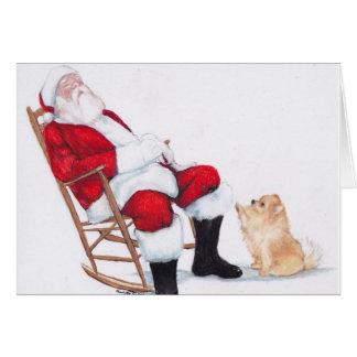 Pomeranian and Santa Claus Dog Art Christmas Card