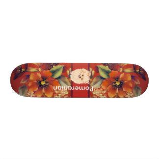 Pomeranian - Autumn Floral Design Skateboard Decks