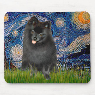 Pomeranian (black) - Starry Night Mouse Pad