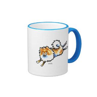 Pomeranian blanco anaranjado lindo taza de dos colores