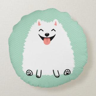 Pomeranian blanco divertido cojín redondo