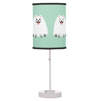 Pomeranian blanco divertido lámpara de mesilla de noche