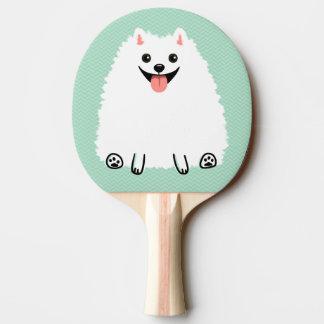 Pomeranian blanco divertido pala de ping pong