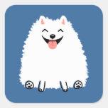 Pomeranian blanco divertido pegatina cuadrada