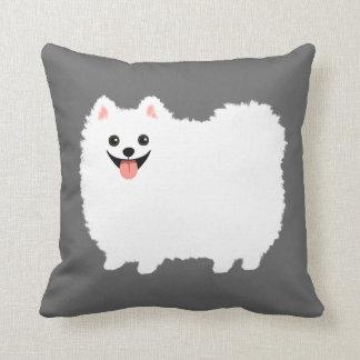 Pomeranian blanco lindo cojín decorativo