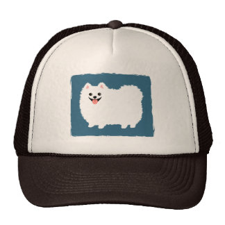 Pomeranian blanco lindo gorras de camionero