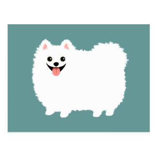 Pomeranian blanco lindo tarjetas postales