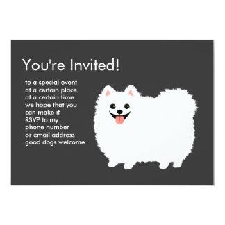 """Pomeranian blanco mullido invitación 5"""" x 7"""""""