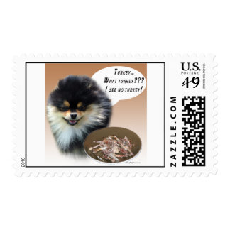 Pomeranian (blktan) Turkey Stamp