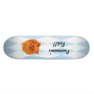Pomeranian - Blue w/ White Diamond Design Skateboard Deck