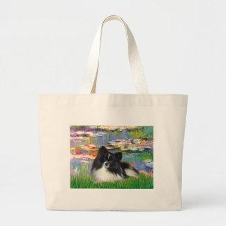 Pomeranian (BW) - Lilies 2 Large Tote Bag