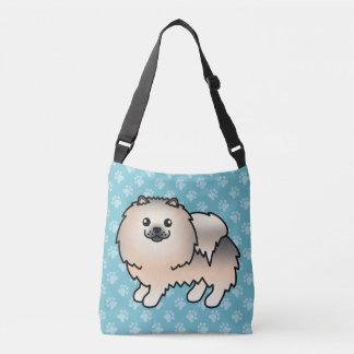 Pomeranian Cartoon Dog In Cream Sable Coat Crossbody Bag