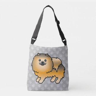 Pomeranian Cartoon Dog In Orange Sable Coat Crossbody Bag
