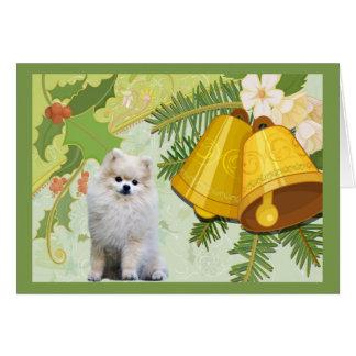 Pomeranian  Christmas Card Bells
