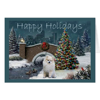 Pomeranian Christmas Card Evening