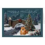 Pomeranian Christmas Card Evening