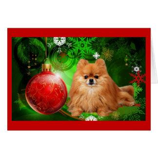 Pomeranian  Christmas Card Red Ball Green