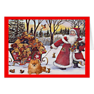 Pomeranian Christmas Card Santa and Bears