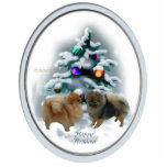 "Pomeranian Christmas Gifts Ornament<br><div class=""desc"">Two adorable pomeranians are posed in front of a decorated woodland tree. Beautiful holiday art for pom lovers. Great Christmas gifts,  xmas cards,  ornaments,  sweatshirts,  more.</div>"