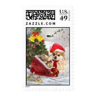 Pomeranian Christmas Holiday scene Postage