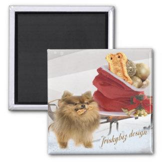 Pomeranian christmas snow scene magnet