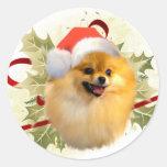 Pomeranian Christmas Stickers