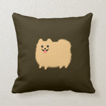 Pomeranian - Cute Dog on Chocolate Color Throw Pillow