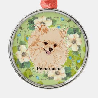 Pomeranian - diseño verde de la hoja ornamentos de navidad