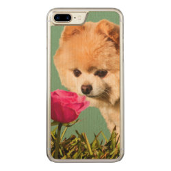 Carved Apple iPhone 7 Plus Wood Case with Pomeranian Phone Cases design