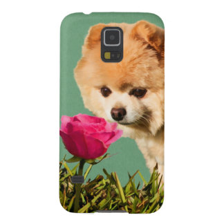 Pomeranian Dog and Rose Case For Galaxy S5