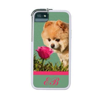 Pomeranian Dog and Rose Customizable Monogram Case For iPhone SE/5/5s