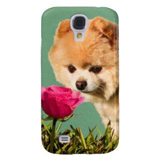 Pomeranian Dog and Rose Samsung Galaxy S4 Case