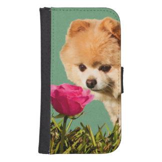 Pomeranian Dog and Rose Samsung S4 Wallet Case