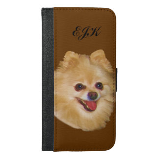 Pomeranian Dog Customizable Monogram iPhone 6/6s Plus Wallet Case