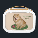 """Pomeranian Dog Customizable Text Lunch Box<br><div class=""""desc"""">Pet lovers will adore this little brown pomeranian dog on these two images. The image on the front shows a full body image of the dog sitting on a green mat. The reverse image is a close up head image. You can customize using the provided text templae to add a...</div>"""