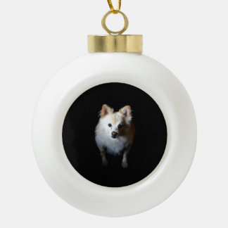 Pomeranian Dog in Dark Ceramic Christmas Ornament
