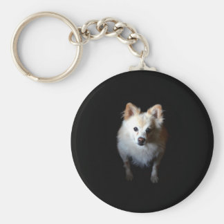 Pomeranian Dog in Dark Keychain